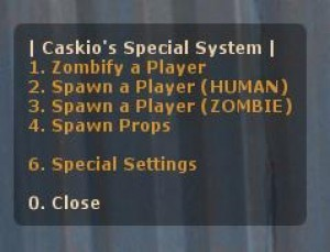 Caskio's Zombify Menu Screenshot