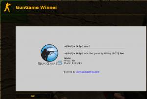 GunGame5 Winner Display Screenshot