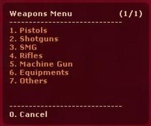 A screenshot of the menu
