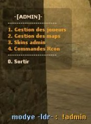 Menu Administrateur Screenshot