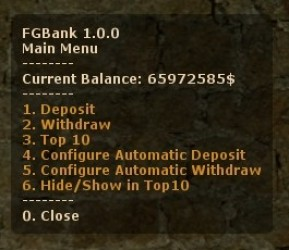 The main menu of the Bank