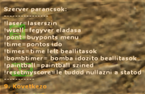 Szerver parancsok/ server commands Screenshot